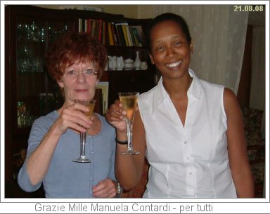 picture of wendy and claire with champagne celebrating Italian Exam success