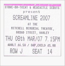 Ticket Stub for musical event