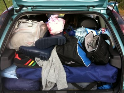 picture of my car packed with items